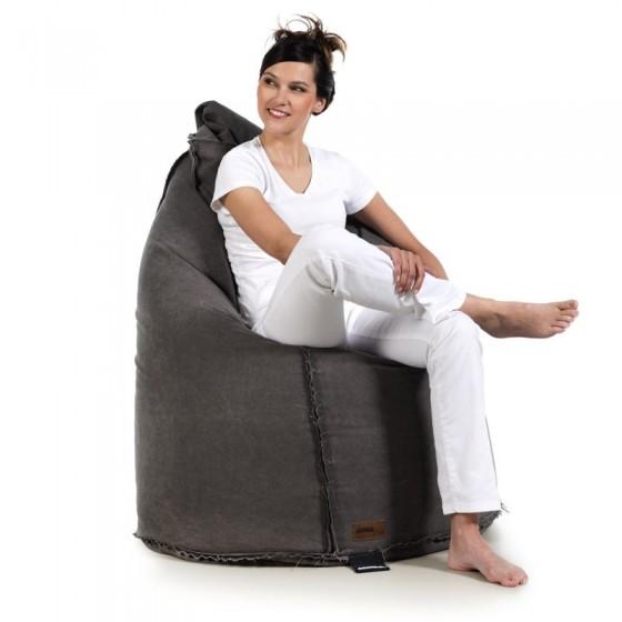 pufa worek czarna pufy sako do siedzenia loft design bawełna vintage jabba sack