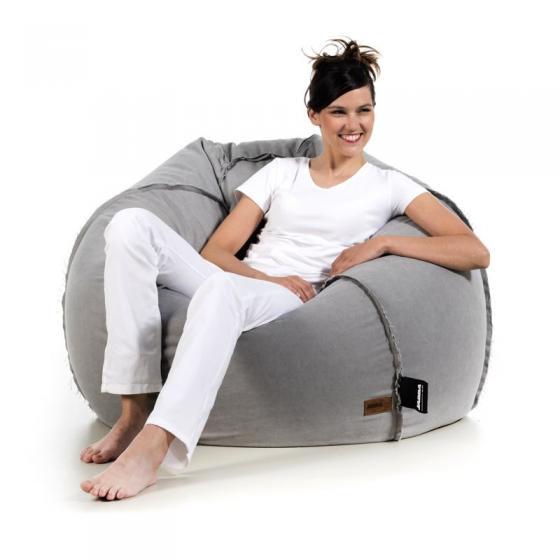 pufa worek szara bawełna jeans loft design pufa do siedzenia pufy sako styl skandynawski jabba baloon
