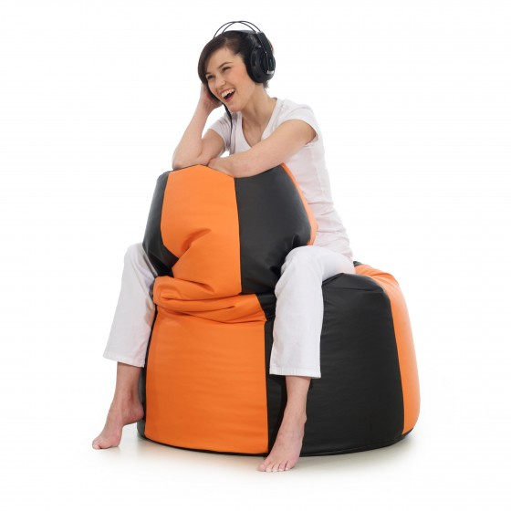 Pufa worek do siedzenia Volcano czarna pomarańczowa Jabba pufa sako