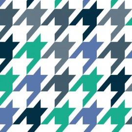 Tkanina dekoracyjna Pepitka miętowo-niebiesko-szara Jabba Design