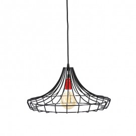 Lampa wisząca druciana Factory różowa Loft - Jabba Design