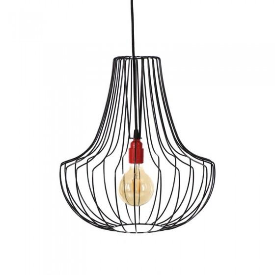 Lampa wisząca druciana Salon czarna Loft - Jabba Design